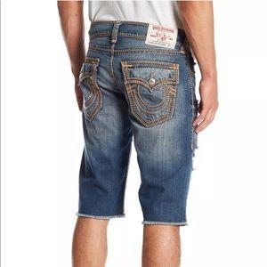 True Religion Men's Cutoff Straight Mega-T Shorts